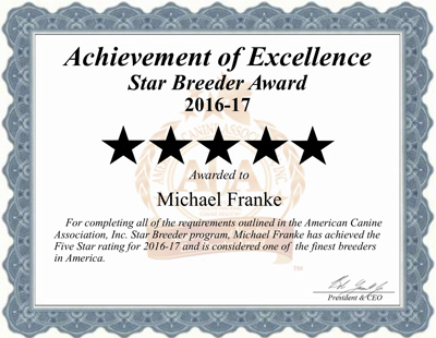 Micheal, franke, dog, breeder, michael-franke, dog-breeder, certificate, kennel, reviews, customer, star, star-breeder, 5, five, USDA, missouri, mo, N